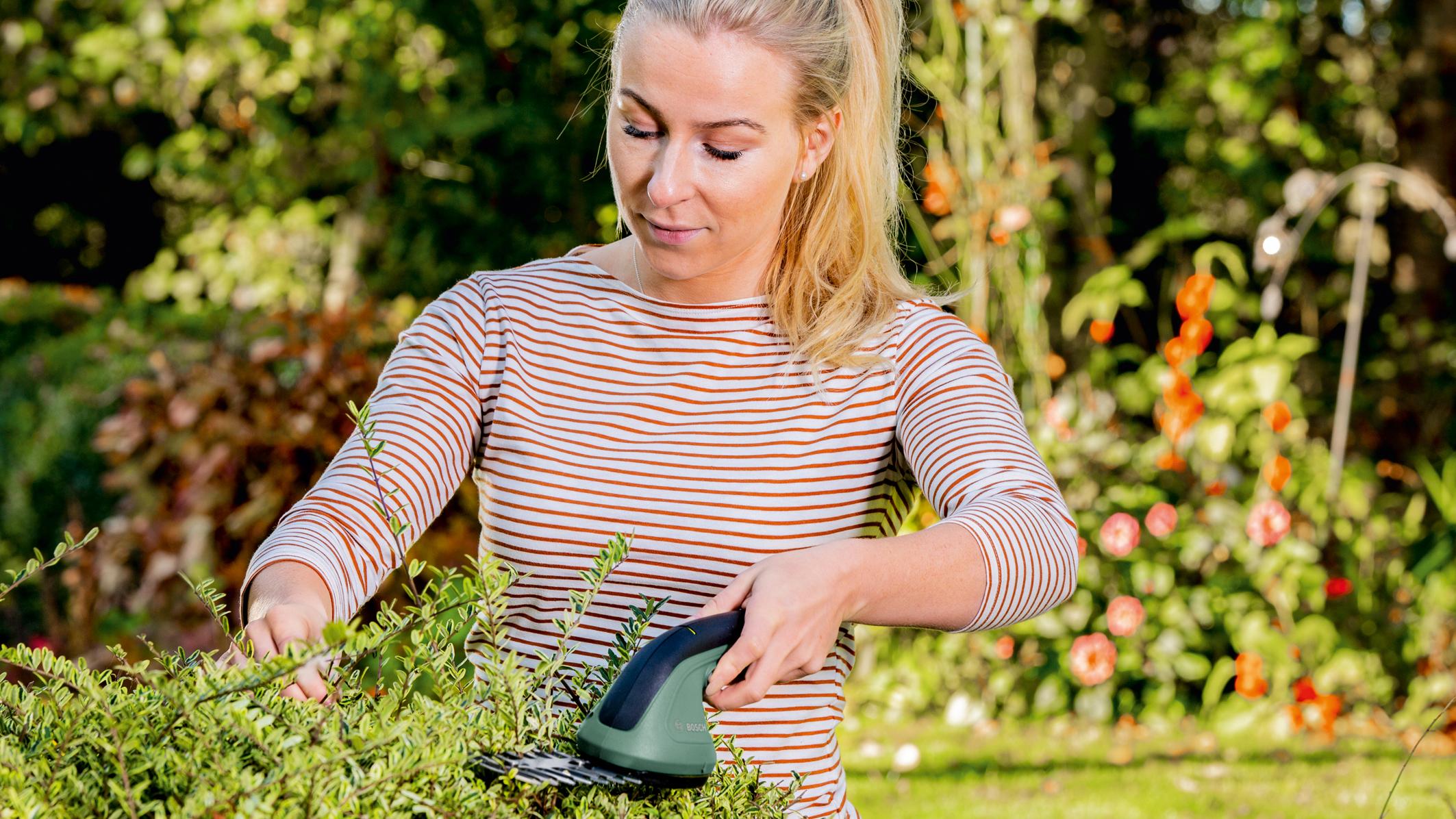 Aku pomocník pro vaši zahradu 2 v 1: Nové nůžky na trávu a keře Bosch EasyShear