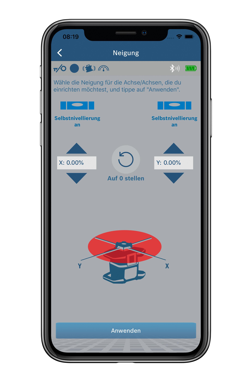 Ovládání pomocí aplikace:  Nový rotační laser od společnosti Bosch pro profesionály