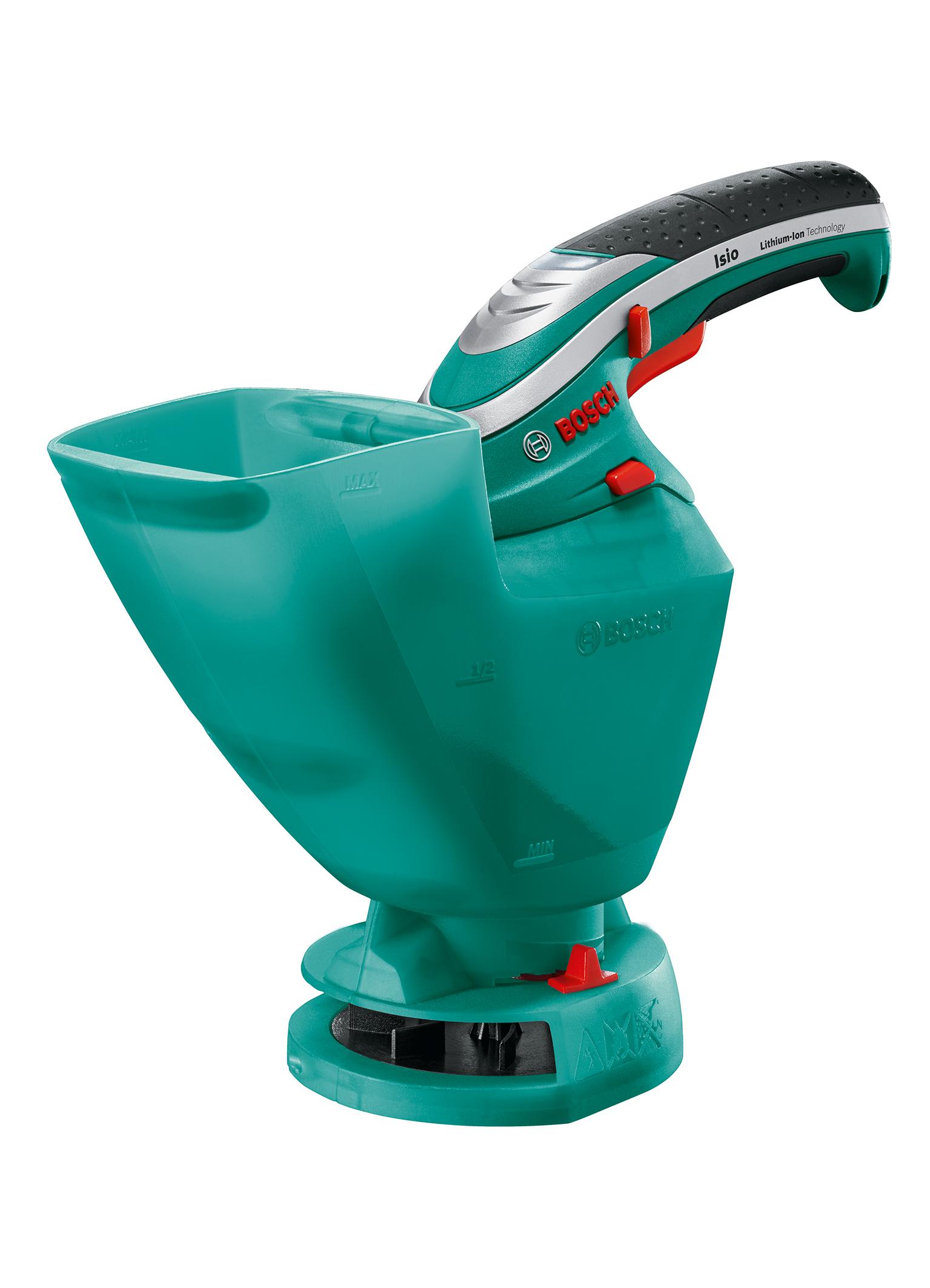 Un utensile universale per il giardinaggio: Isio di Bosch, ora con accessorio spargitore per distribuire i semi d'erba e il fertilizzante in modo semplice e rapido