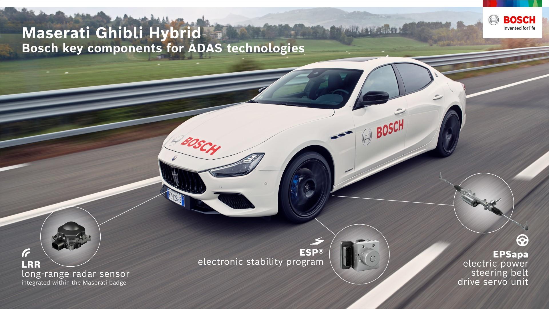 Maserati Ghibli Hybrid - Bosch key components for ADAS technologies