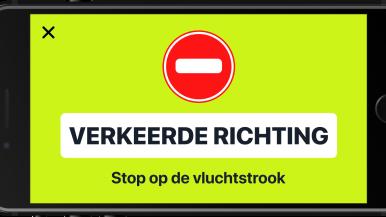 De verkeersapp Flitsmeister waarschuwt gebruikers voor spookrijders