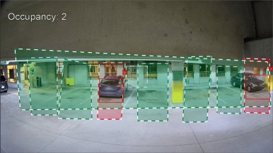 With Camera Trainer, the camera can be trained to also analyze stationary situations and compare them over different points in time, for example, determining if parking spots are full or empty.