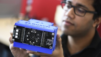 The SoundSee module, which uses microphones and machine learning to analyze audio data, made its maiden voyage to the International Space Station (ISS) Nov. 2, 2019 aboard Northrup Grumman's CRS-12 resupply mission.
