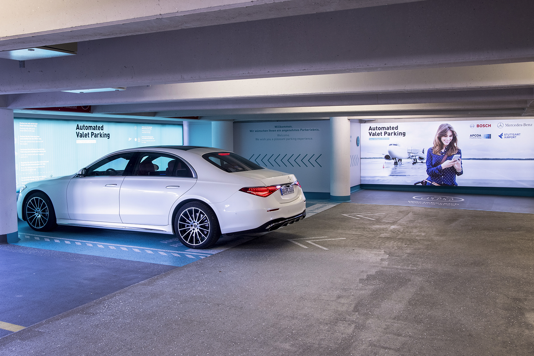 Apcoa, Bosch, and Mercedes-Benz are working to provide the world's first commercial automated valet parking (AVP) service at Stuttgart airport