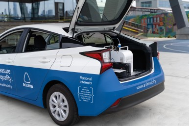 Aclima's air quality measurement system in a hybrid vehicle trunk