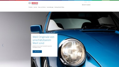 Website von Bosch Classic im neuen Design, mit neuen Funktionen und überarbeitet ...