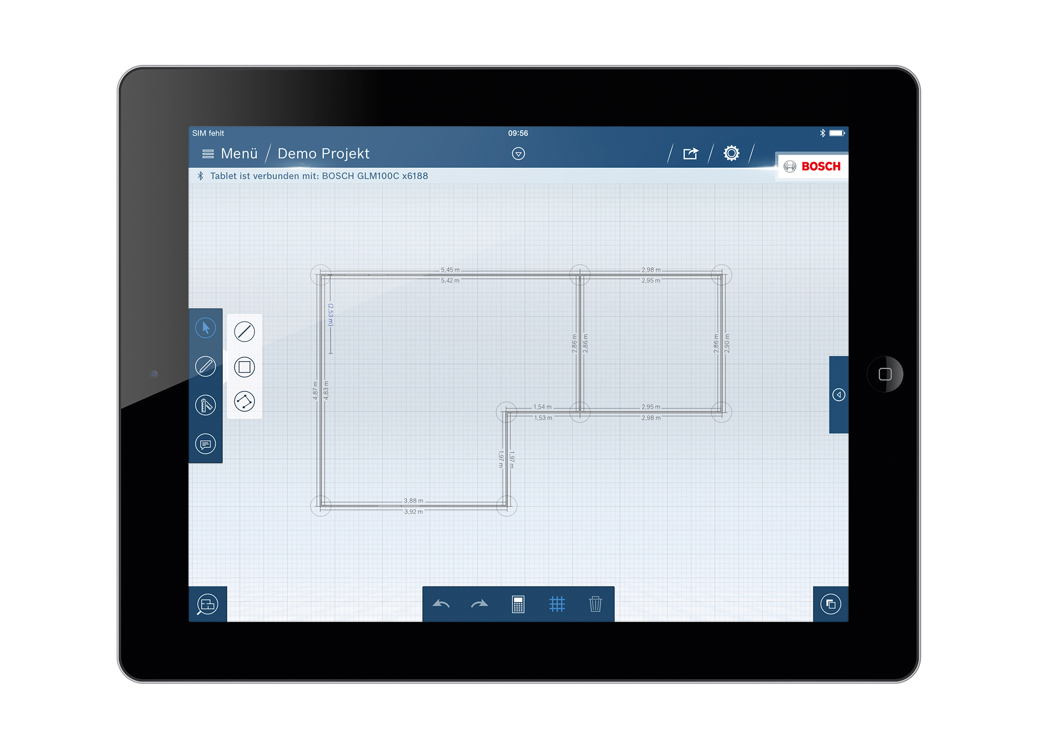 the glm floor plan app from bosch for professionals bosch media service. Black Bedroom Furniture Sets. Home Design Ideas