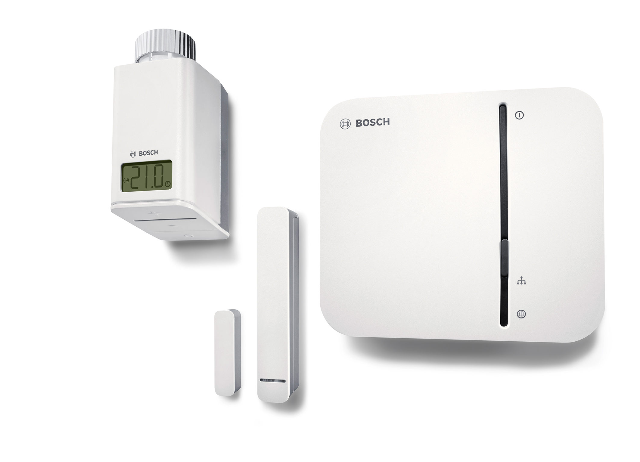 Bosch smart-home products <br>Smart thermostat, door-window contact, smart home controller