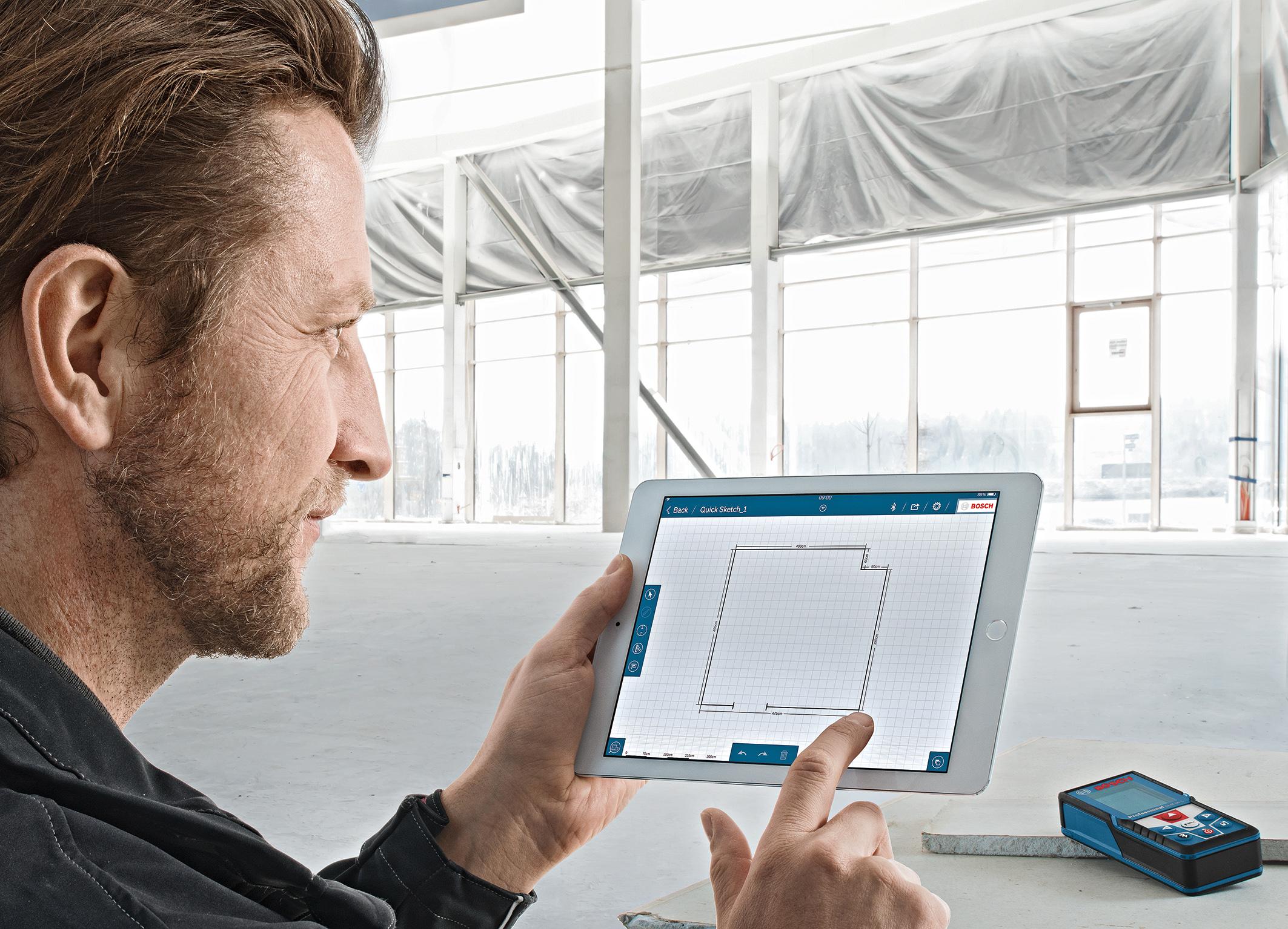 Bosch Entfernungsmesser Mit App : Neue measuring master app von bosch für profis media service