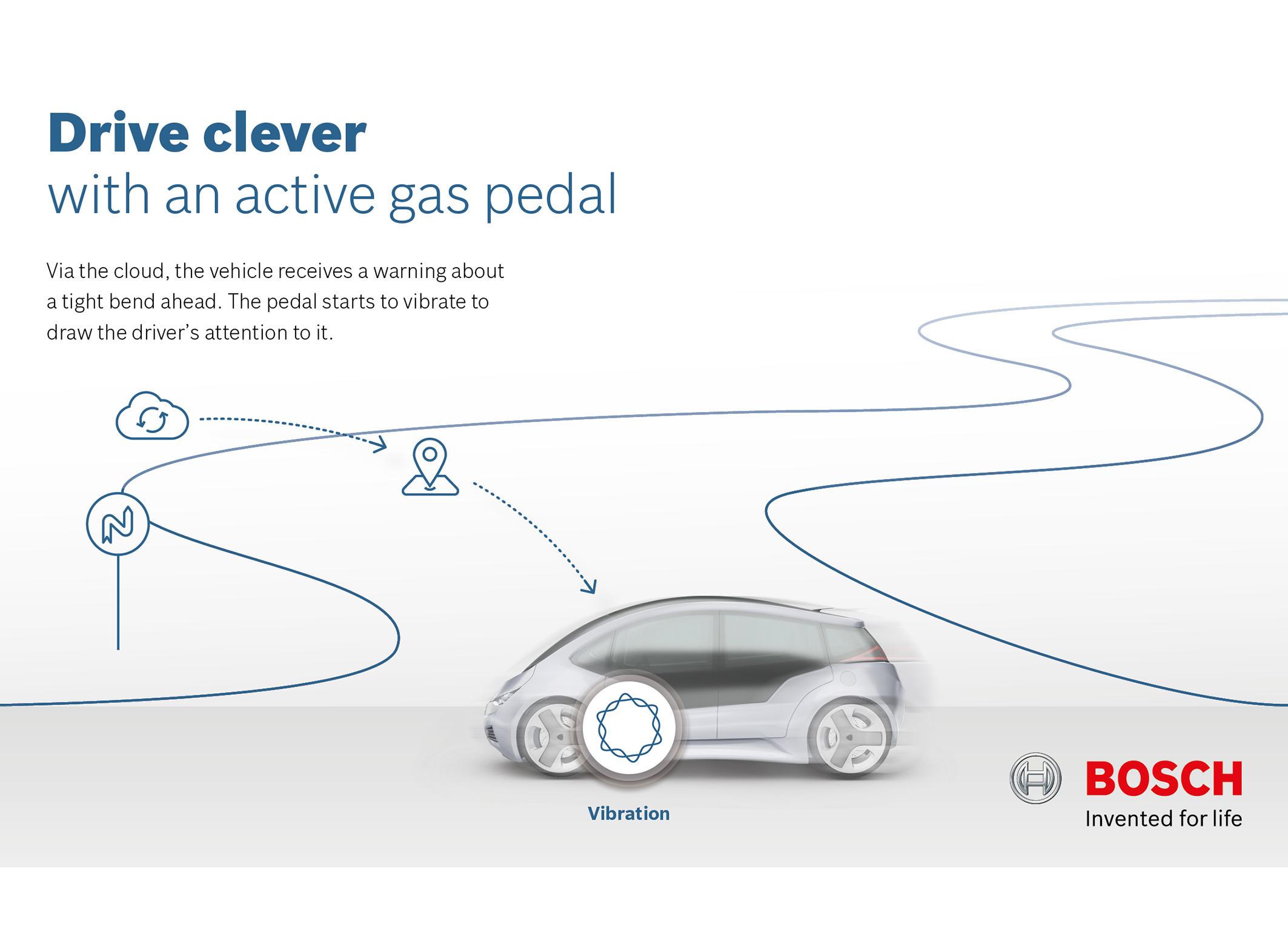 """""""Cítim to v prstoch na nohách"""" Aktívny plynový pedál Bosch: jemné vibrácie môžu zmierniť tlak na plynový pedál a upozorniť na vodičov idúcich proti smeru premávky"""