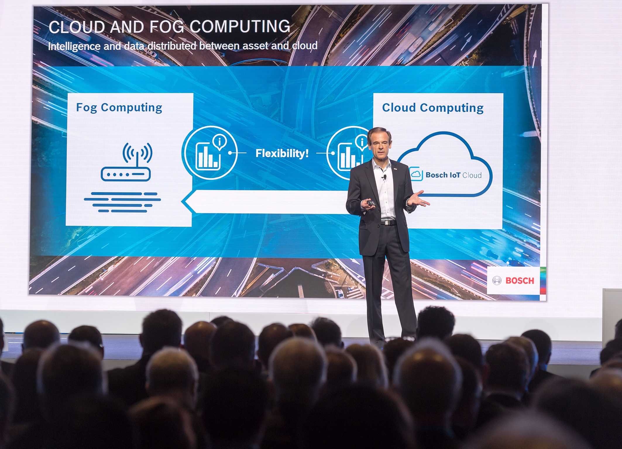 Taking the internet of things to the next level: Bosch-Chef Dr. Volkmar Denner bei der Keynote der Bosch Connected World 2017